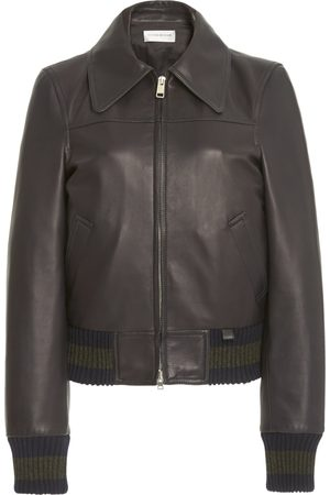 Victoria Beckham Knit-Trimmed Leather Bomber Jacket