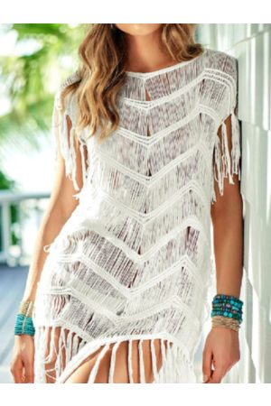 YOINS Tassel Details Round Neck Short Sleeves Beach Dress