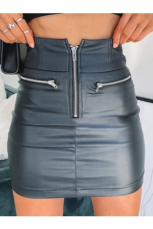YOINS Women Mini Skirts - Zip Front Faux Leather Middle-Waisted Skirt