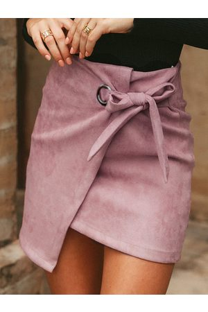 YOINS Suede Split Design Plain Skirt
