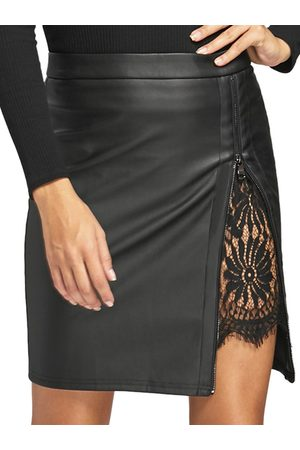 YOINS Lace Insert Zip Front Faux Leather Skirt