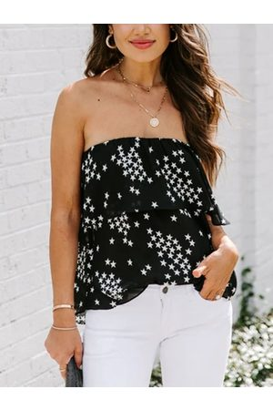 YOINS Black Ruffle Trim Star Backless Tube top