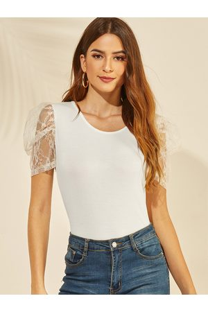 YOINS Lace Round Neck Puff Sleeves Tee