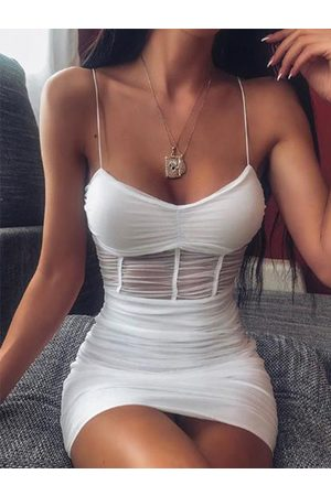 YOINS White Mesh Backless Design Ruched Tube Top Sleeveless Dress
