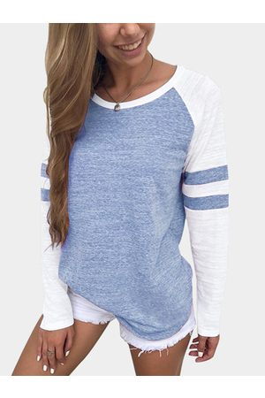 YOINS Stripe Colorblock Round Neck Raglan Sleeves T-shirts