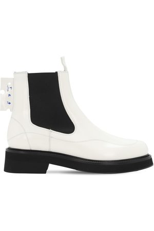 OFF-WHITE 40mm Brushed Leather Chealsea Boots