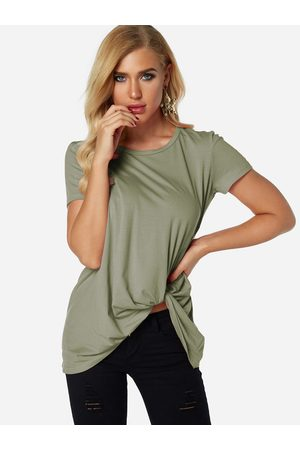 YOINS Pleated Design Round Neck Short Sleeves T-shirts