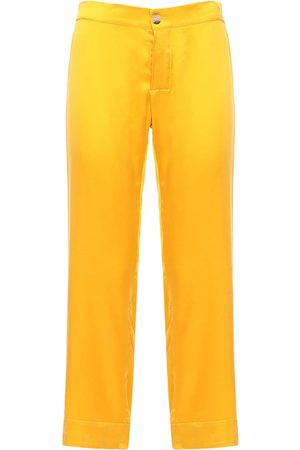 ASCENO The Antibes Cropped Silk Pajama Pants