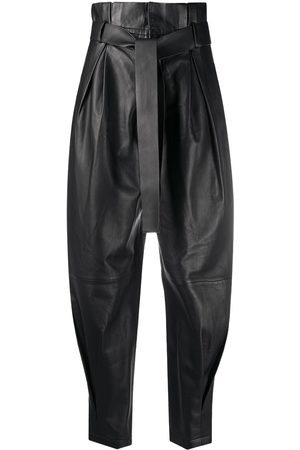 RED Valentino Women Leather Pants - Leather paperbag trousers