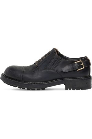 Dolce & Gabbana 40mm Matte Leather Lace-up Shoes
