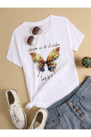 YOINS Colorful Butterfly Letter Print Crew Neck Short Sleeves Tee
