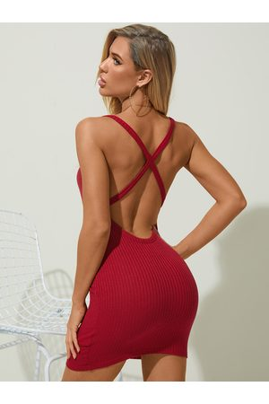 YOINS Sexy Backless Criss-cross Square Neck Spaghetti Strap Sleeveless Dress