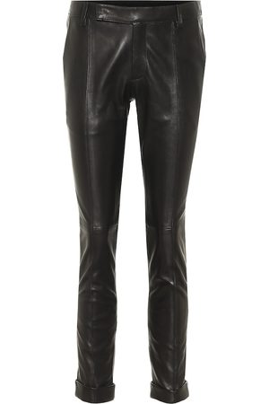 Golden Goose Agathe leather cropped skinny pants