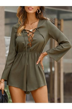 YOINS Lace-up Hollow Out Elastic Waist Long Sleeves Playsuit