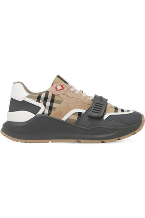 Burberry 30mm Check Cotton & Leather Sneakers