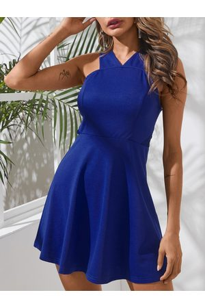 YOINS Blue Lace Patchwork V-neck Sleeveless Mini Dress