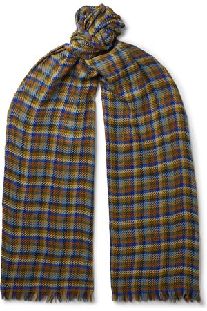 Loro Piana Men Scarves - Fringed Checked Cashmere and Silk-Blend Scarf