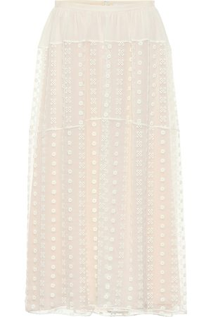 Chloé Embroidered silk crêpon midi skirt