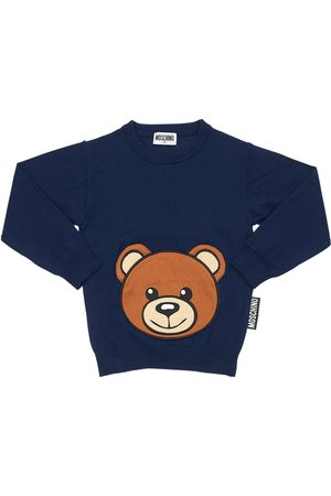 Moschino Girls Cotton Blend Knit Sweater W/ Teddy Bear