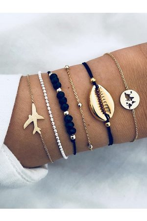 YOINS The Plane Shell Shape Beaded Chain Six-piece Bracelet Set