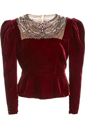 Marchesa Embellished Puffed-Sleeve Velvet Top