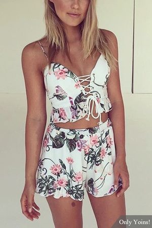 YOINS Floral Print Sleeveless Lace-up Co-ord