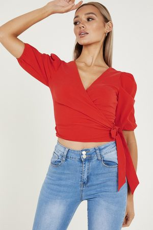 Quiz Women Crop Tops - Puff Sleeve Wrap Crop Top