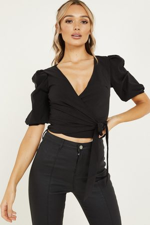 Quiz Puff Sleeve Wrap Crop Top