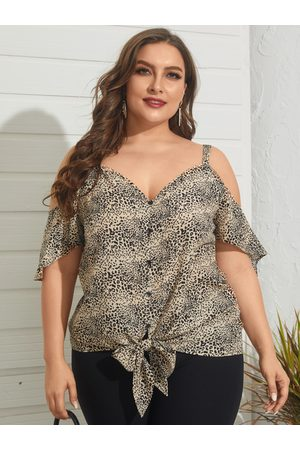 YOINS Plus Size V-neck Leopard Backless Design Short Sleeves Blouse