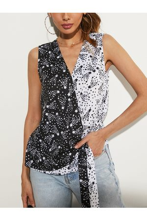 YOINS Star Print V-neck Sleeveless Tank Top