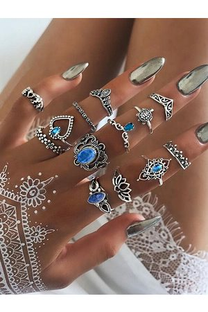 YOINS Silver Crystal Geometric Shape 13-piece Ring Set