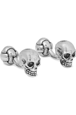 Alexander McQueen Skull Burnished -Tone and Crystal Cufflinks