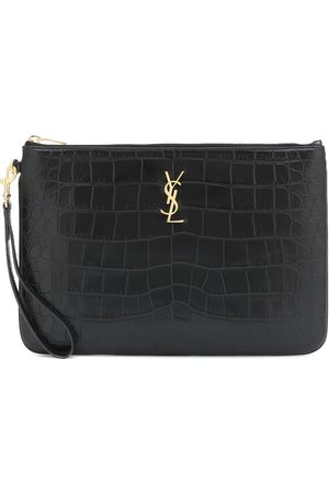 Saint Laurent Croc-effect leather tablet pouch