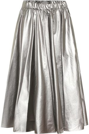 Moncler Coated cotton midi skirt