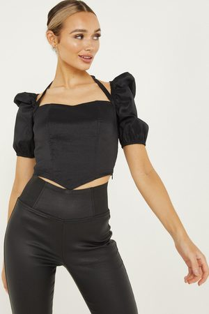 Quiz Satin Halterneck Crop Top