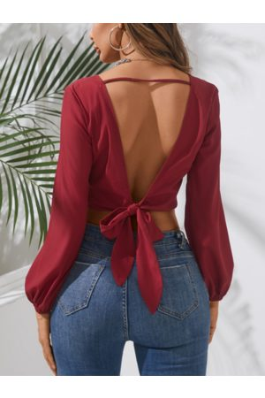 YOINS Sexy Backless V-neck Long Sleeves Crop Top