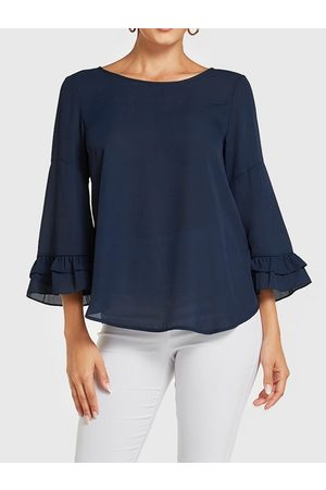 YOINS Round Neck Ruffle Long Sleeves Blouse