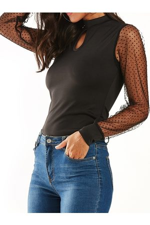 YOINS Cut Out Polka Dot Long Sleeves Mesh Top