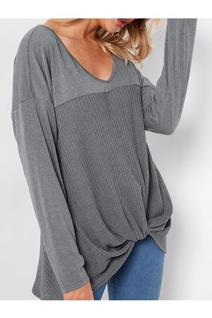 YOINS Knotted Front Design V-neck Long Sleeves T-shirts
