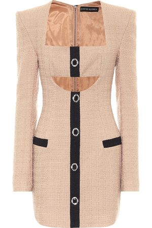 DAVID KOMA Bouclé wool minidress