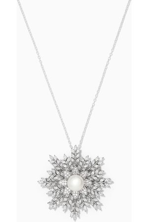 The Jewels Jar Women Necklaces - Snowflake Brooch Pendant Necklace in 925 Sterling