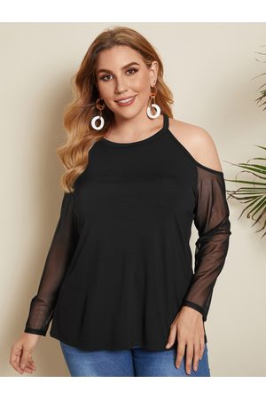 YOINS Plus Size Cold Shoulder Long Sleeves Tee