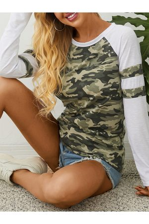 YOINS Camo Patchwork Round Neck Long Sleeves Tee