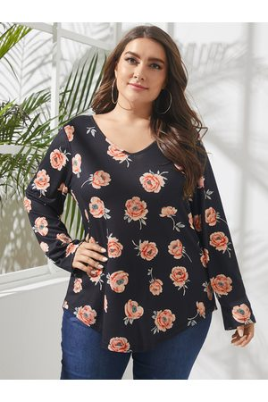 YOINS Plus Size V-neck Floral Print Long Sleeves Tee