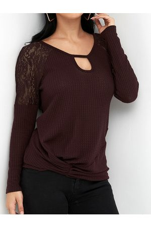 YOINS Lace Details Round Neck Long Sleeves Knot Hem T-shirt