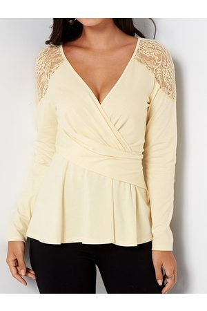 YOINS Lace Details V-neck Long Sleeves T-shirt