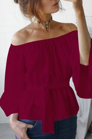 YOINS Chiffon Off-The-Shoulder Top with Waist Tie