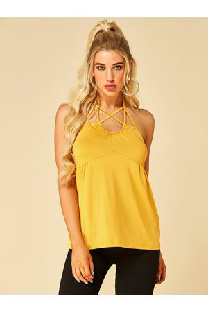 YOINS Backless Design Self Tie Halter Cami