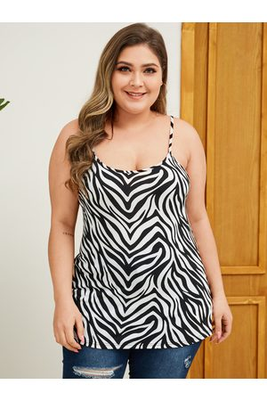 YOINS Plus Size Black Animal Print Square Neck Sleeveless Cami