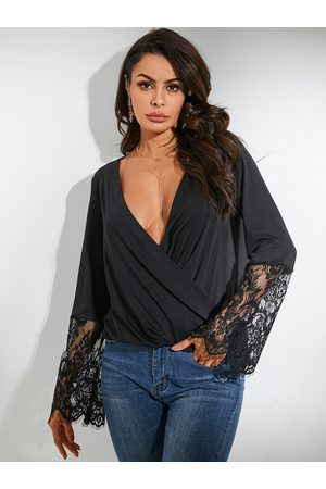 YOINS Black Lace Deep V Neck Wrap Design Long Sleeves Tee